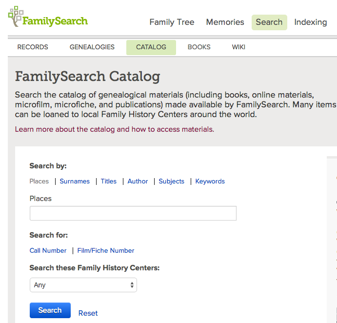 FamilySearch Catalog